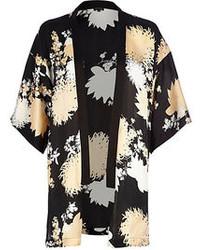 River Island Black Floral Print Kimono