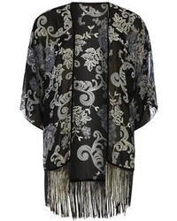 Dorothy Perkins Petals Black And White Printed Kimono