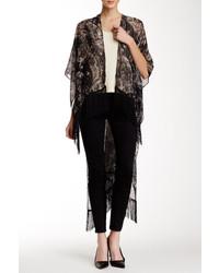 Natasha Accessories Paisley Print Fringe Trim Kimono