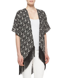 Romeo & Juliet Couture Printed Long Fringe Kimono Blackwhite