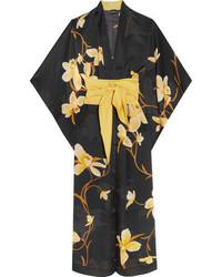 Carine Gilson Printed Silk Chiffon Kimono Black