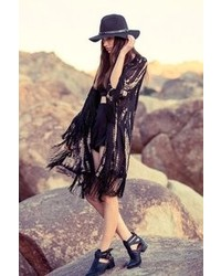 Urban Outfitters Staring At Stars Tie Dye Fringe Kimono Jacket