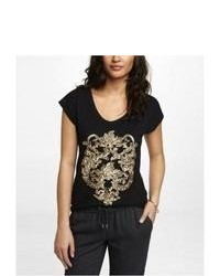 Express Lace Back Sequin Graphic Tee Black X Small