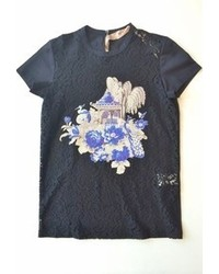 No.21 No 21 Cotton Lace Front Tshirt With Silko Screen Black