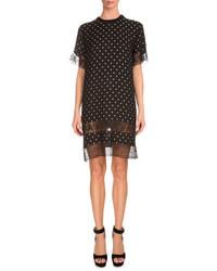 Givenchy Star Print Lace Inset Shift Dress Black