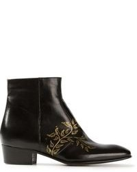 Black Print Leather Ankle Boots