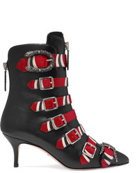 Gucci Buckled Printed Leather Ankle Boots Black
