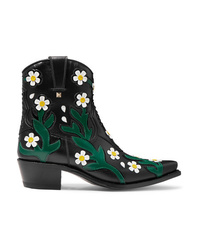 Valentino Garavani Ranch Appliqud Leather Ankle Boots