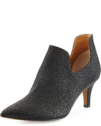 Neiman Marcus Jacinta Stingray Print Pointed Toe Bootie Black