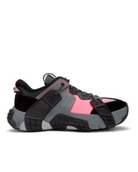 Valentino Black And Pink Garavani Vltn Wod Sneakers