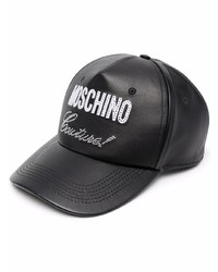 Moschino Logo Print Leather Cap