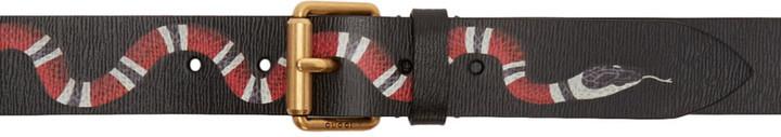 0f709038629 ... Gucci Black Leather Snake Belt ...