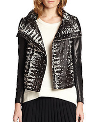 Diane von Furstenberg Calf Hair Leather Moto Jacket