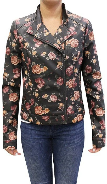 Coffeeshop Floral Print Moto Faux Leather Jacket