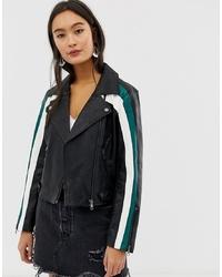 Only Colour Block Faux Leather Biker Jacket