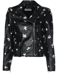 Flower print biker jacket medium 4105604