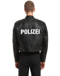 Vetements Polizei Cropped Leather Moto Jacket