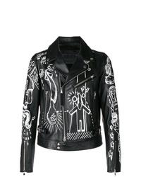 Diesel Black Gold Printed Design Biker Jacket