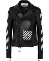 Off-White Printed Leather Biker Jacket Black