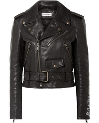 Balenciaga Printed Textured Leather Biker Jacket