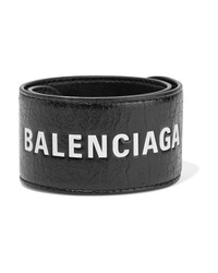 Balenciaga Cycle Printed Textured Leather Bracelet
