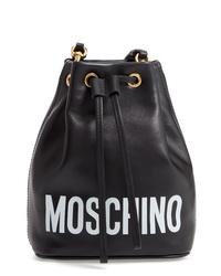 Moschino Logo Leather Bucket Bag