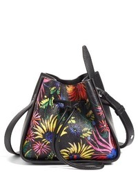 3.1 Phillip Lim Mini Soleil Print Leather Bucket Bag Black