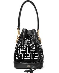 Fendi Mon Trsor Mini Printed Pvc And Leather Bucket Bag