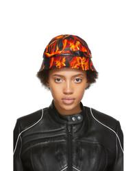 Marine Serre Black And Orange Leather Fire Bucket Hat