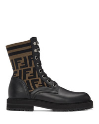 Fendi Black And Brown Forever Lace Up Boots