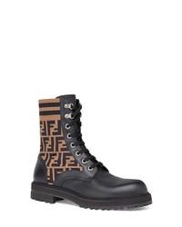 Fendi Stivaletto Vitello Maglia Ff Motif Lace Up Sock Boot