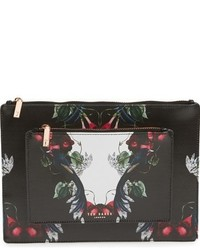 London bejewelled shadows fawnn printed leather pouch black medium 784752