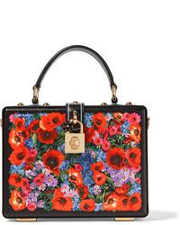 Dolce & Gabbana Dolce Printed Lizard Effect Leather Shoulder Bag Black