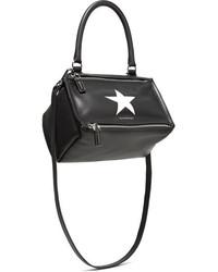 Givenchy Pandora Small Printed Leather Shoulder Bag Black