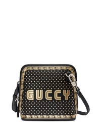 Gucci Guccy Logo Moon Stars Leather Crossbody Bag