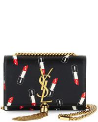 ysl replica clutch - Saint Laurent Monogram Small Lipstick Print Crossbody Bag Black ...