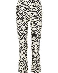 Sprwmn Cropped Zebra Print Leather Flared Pants