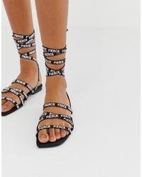 ASOS DESIGN Fierce Slogan Flat Sandals