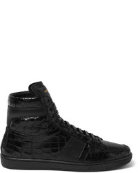 Black Print Leather High Top Sneakers