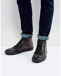 Hugo Boss Hugo By Embossed Leather Zip And Lace High Top Graphic Print Sneakers Black