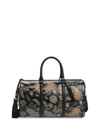 Black Print Leather Holdall