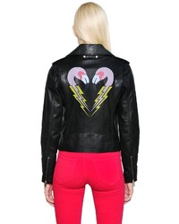 Diesel Flamingo Print Smooth Leather Jacket