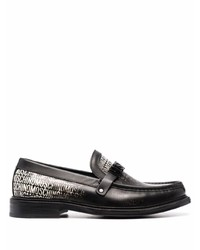 Moschino Logo Print Leather Loafers