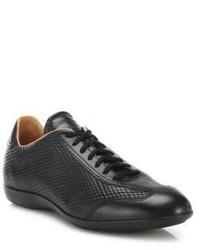 Black Print Leather Low Top Sneakers
