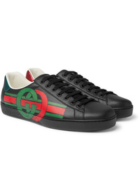 Gucci Ace Logo Print Leather Sneakers