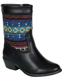Black Print Leather Mid-Calf Boots