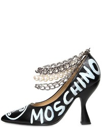 Moschino 100mm Painted Leather Heels W Chains