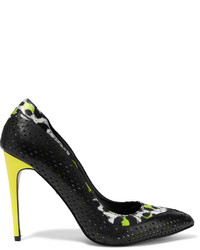 Just Cavalli Animal Print Satin Trimmed Perforated Leather Pumps