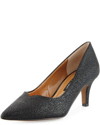 Neiman Marcus Kiarra Stingray Print Low Heel Pump Black
