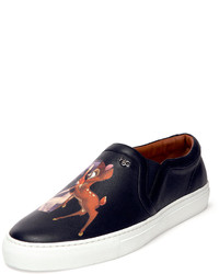 Givenchy Bambi Print Leather Skate Shoe Black